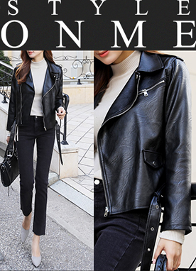 Belted Leather Biker Jacket, Styleonme
