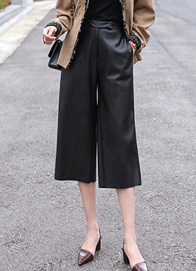 Leather Elastic Waist Culotte Pants, Styleonme