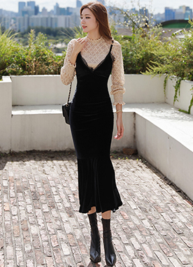 Velvet Slip Dress with Lace Detail, Styleonme