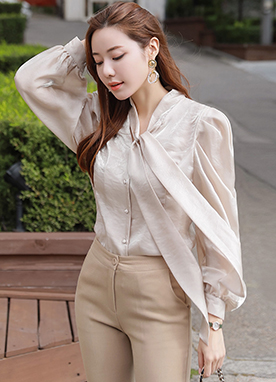 Pearl Ribbon Tie Blouse, Styleonme