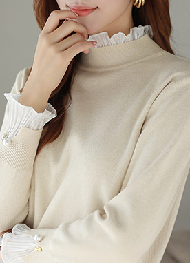 Yoomys Frilled Mock Neck Knitted Top, Styleonme