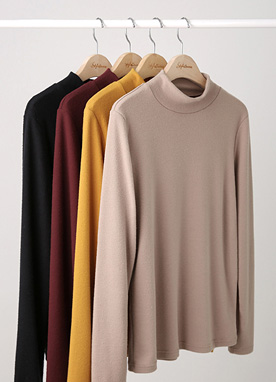 Warm Fleece-lined Mock Neck Top, Styleonme