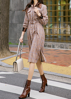 Autumn Velvet Mix Maxi Shirt Dress with Belt, Styleonme