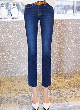 Slim Fit Semi-Bootcut Ankle Jeans, Styleonme