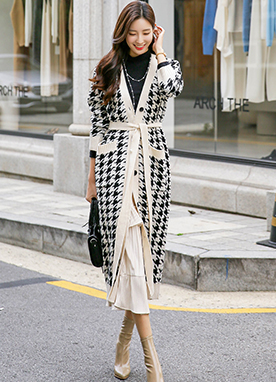 Hound Check Long Cardigan with Belt, Styleonme