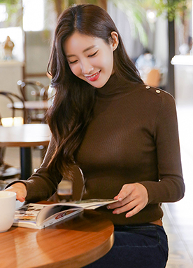 Turtle Neck Ribbed Jumper with Gold Button Detail, Styleonme