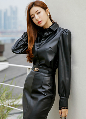 Puff Sleeve Leather Shirt, Styleonme