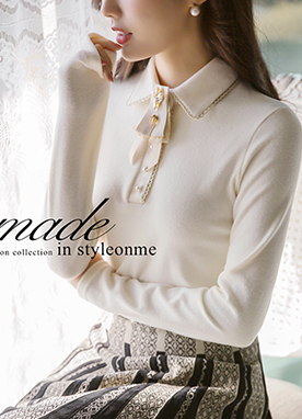 Soft Collared Top with Lace and Pearl details, Styleonme