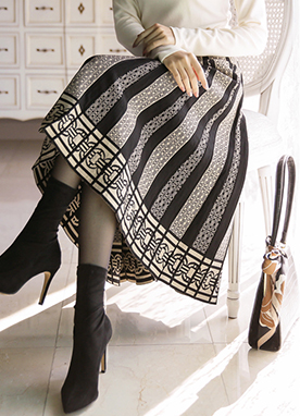 Ethnic Print Pleated Knit Skirt, Styleonme