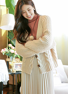 Loose-fit Chunky Cable Knit Cardigan, Styleonme