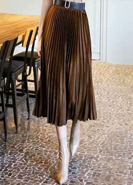 Suede Pleated Maxi Skirt, Styleonme