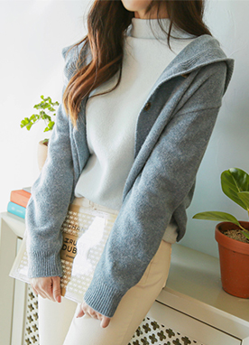 80% Lambswool Hooded Cardigan, Styleonme