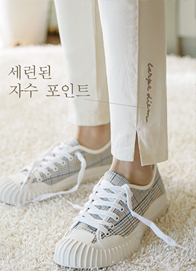 Special Embroidery Straight Pants, Styleonme
