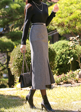 20Wool Mix Unbalanced Herringbone Maxi Skirt, Styleonme