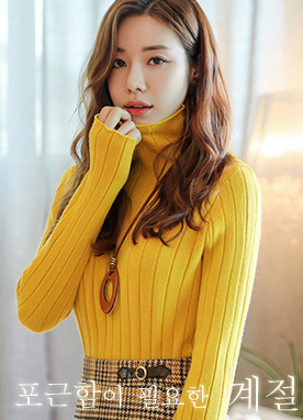 Sweet Daily Thick Ribbed Roll neck Jumper, Styleonme