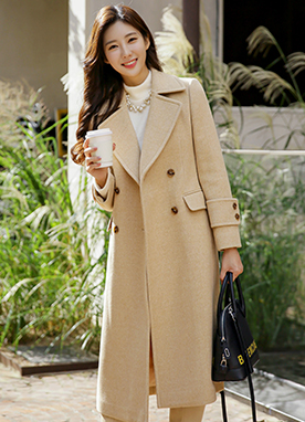 Premium 60Wool Mix Double-breasted Long Coat, Styleonme