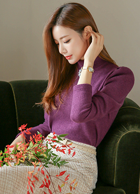 Puff Sleeve Mock Neck Jumper, Styleonme