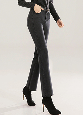 Warm Fleece-lined Boot-cut Jeans, Styleonme