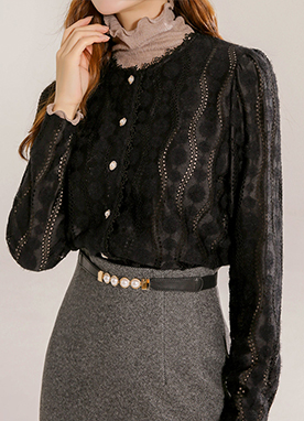 Yoomys Fleece-lined Lace Blouse, Styleonme