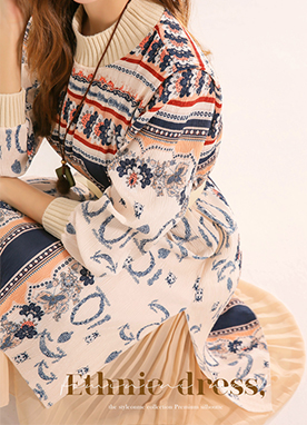 Ethnic Print Layered Dress, Styleonme