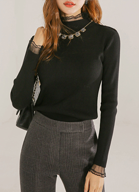 Lace Trim Ribbed Jumper with button detail, Styleonme