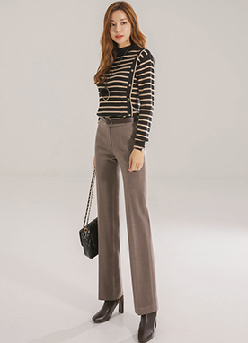 Side Button Mock Neck Stripe Jumper, Styleonme