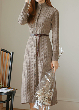Elegant 50Fine Wool Mix Knit Dress, Styleonme