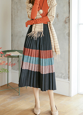 Color block Elastic Waist Pleated Skirt, Styleonme