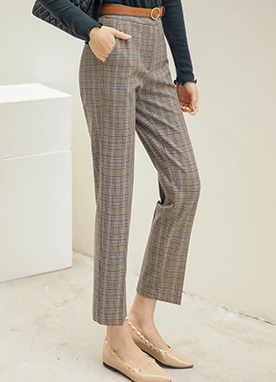 High Waisted Warm Check Slacks, Styleonme