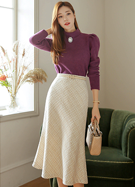 Tweed Pattern Flared Midi Skirt, Styleonme