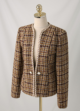 Luxe Tweed 15Wool Mix Pearl Button Collarless Jacket, Styleonme