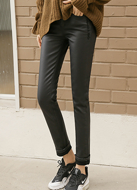 Fleece-lined Coated Skinny Pants, Styleonme