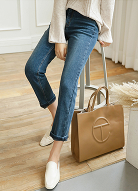 Fleece-lined Daily Straight Jeans, Styleonme
