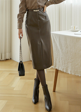 Giselle Faux Leather Pencil Skirt, Styleonme