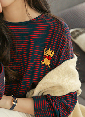 Pooh Stripe Long sleeve Top, Styleonme