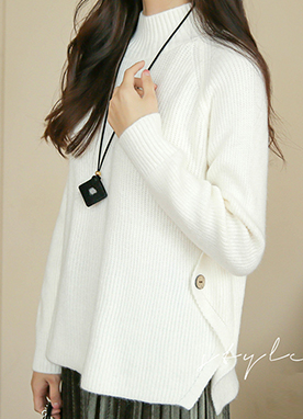 Side Button Soft Ribbed Jumper, Styleonme
