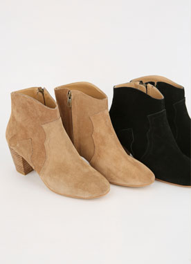 Suede Ankle Heeled Boots, Styleonme