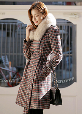 Check Belted Half Coat , Styleonme