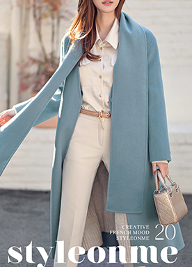 90% Wool mix Belted Handmade Long Coat, Styleonme