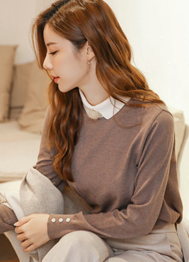 Preppy Style Collared Jumper, Styleonme