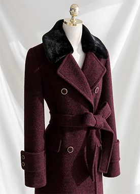 50Wool mix Belted Long Coat, Styleonme