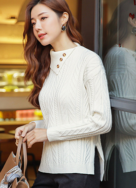 Unbalanced Collar Cable Knit Jumper, Styleonme