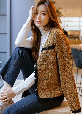 Gem Button Tweed Cardigan, Styleonme