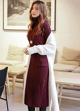 Roll Neck Cable Knit Long Dress, Styleonme