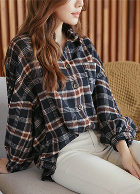 Fleece Lined Check Flannel Shirt, Styleonme