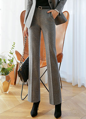 10Wool mix Warm Semi Boot cut Slacks, Styleonme