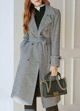 Hound Check Belted Oversized Coat, Styleonme