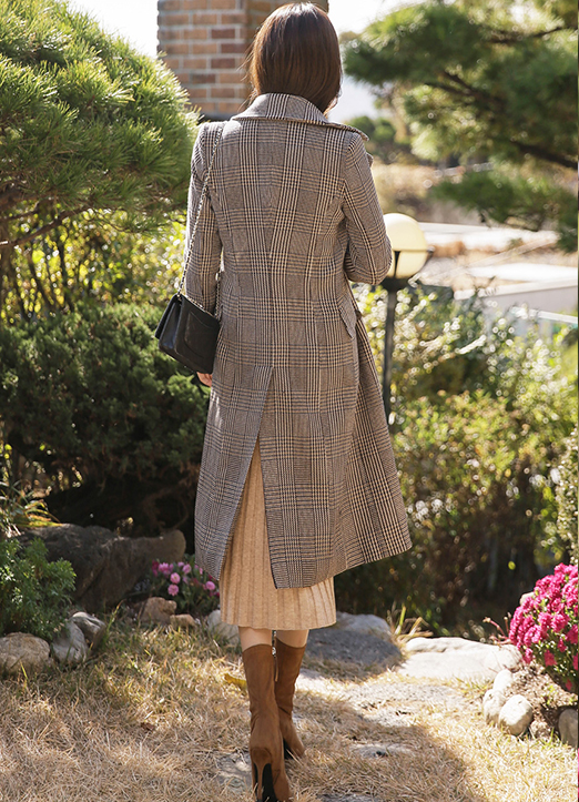 5Wool mix fleece-lined Check Coat, Styleonme