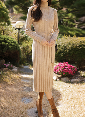 Long Belted Ribbed Knit Dress, Styleonme