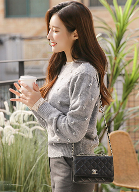 15Wool mix Beaded Pearl Crew Neck Jumper, Styleonme